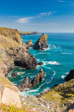 Dramatic coastline at Kynance Cove on the Lizard Peninsula Cornwall England UK Stock Photo
