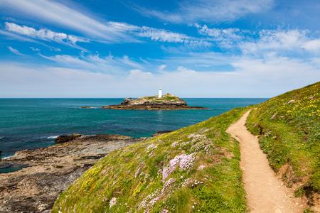 Godrevy Island and lighthouse Cornwall England UK Europe