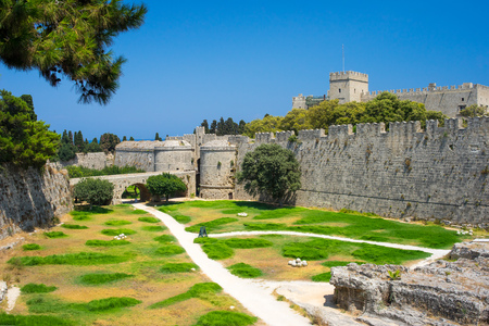 Walls and grounds of the Old Town Rhodes Dodecanese Islands Greece Europe