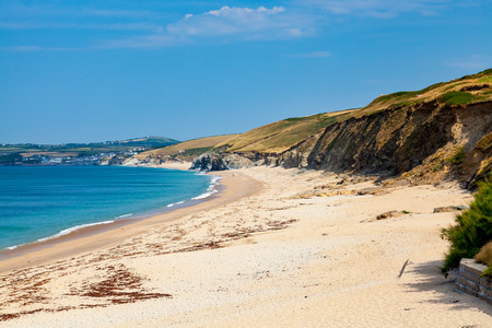 The view along Porthleven Sands from Gunwalloe Fishing Cove Cornwall England UK Europe