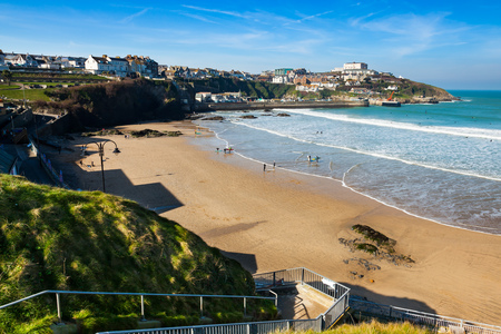 Overlooking the golden sandy Town Beach Newquay Cornwall England UK Europe Stock Photo