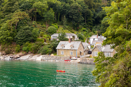 Approaching the village of Durgan on the River Helford Cornwall England UK Europe