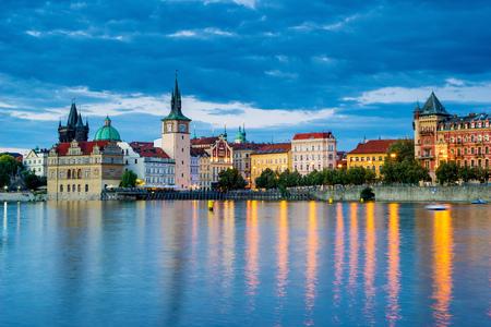 Night on the River Vltava in the Czech capital city of Prague. Czech Republic