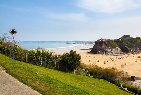 Overlooking Towan Beach at Newquay Cornwall England UK Europe
