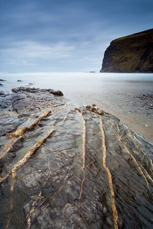 Dramatic winters day on the beach at Crackington Haven on the North Cornish coast Cornwall England UK Europe