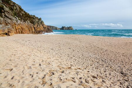 The beautiful beach at Porthcurno Cornwall England UK Europe Archivio Fotografico