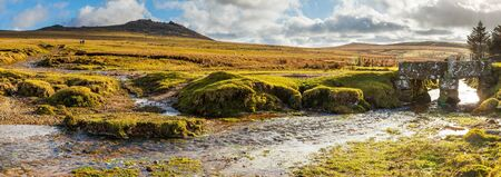 Panormaic shot of the rugged walk up to Rough Tor on Bodmin Moor the second highest point in Cornwall England UK Europe