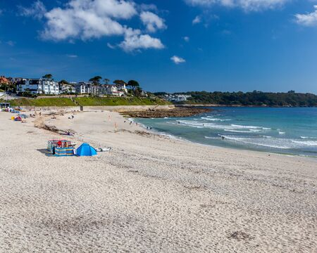 Overlooking the golden sand at Gyllyngvase Beach Falmouth Cornwall UK Europe