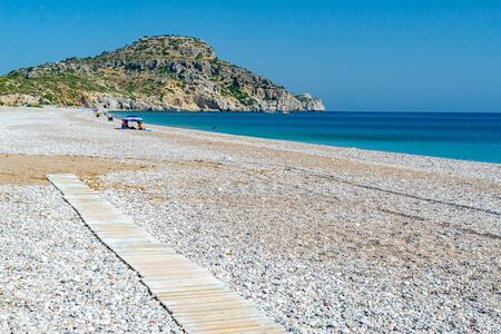 Sunny day on Afandou Beach on the Island of Rhodes Greece Europe