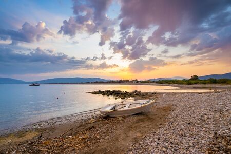 Sunset on Haraki Beach Charaki on the Greek Island of Rhodes in the Dodecanese Greece Europe