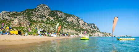Beautiful sunny day at Tsambika Beach on the Island of Rhodes Rodos Greece Europe