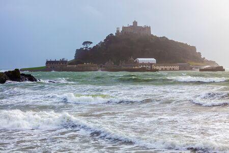 Winter storm at St Michaels Mount Marazion on the Cornish coast. Cornwall England UK Europe