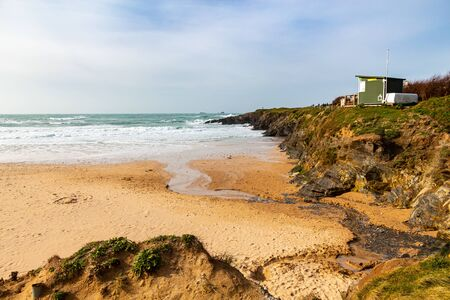 Overlooking Treyarnon Bay Cornwall England UK Europe