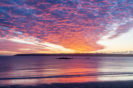 Vibrant sunset over St Michaels Mount at Marazion Cornwall England UK Europe