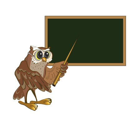 blackboard cartoon: Owl-teacher stands at the blackboard with a pointer. Illustration