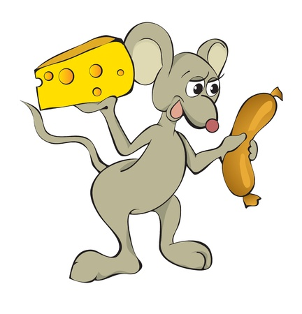 rodent: The complaisant mouse with cheese and hot-dog.