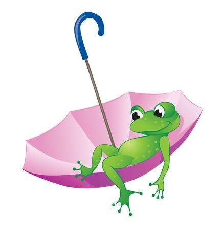 grenouille: Grenouille flotteurs assis dans un parapluie