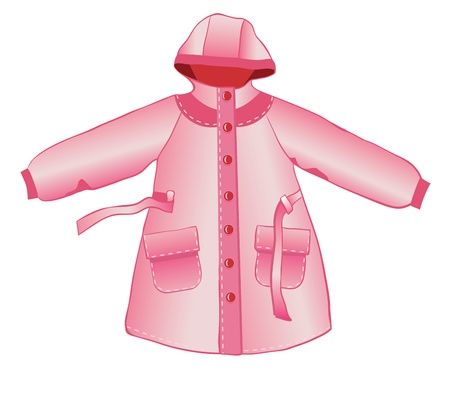 raincoat: Rain coat with hood isolated on white Illustration