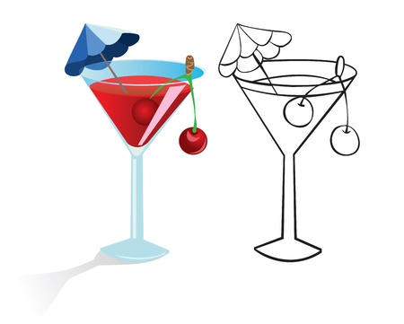 liqueur: Glass of drink with umbrella and fruit. Color and contour drawing Illustration
