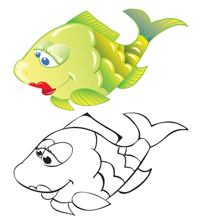 outline drawing of fish: Fun cartoon fish isolated on white and outline drawing