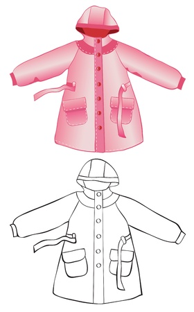 rain coat: Rain coat with hood isolated on white. Color and contour drawing
