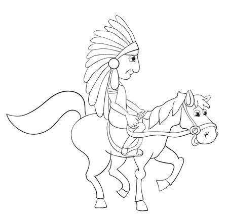 American Indian on horseback. Contour Vector