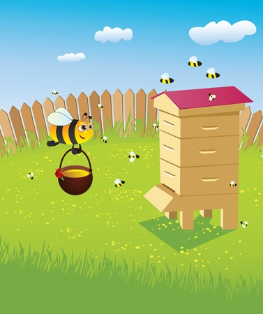 Beehive and bees. Apiary on the lawn Vector