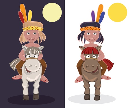 American Indian on horseback. Day and night Vector