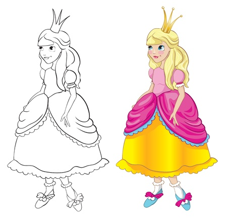 Princess with a crown. Contour and color Vector