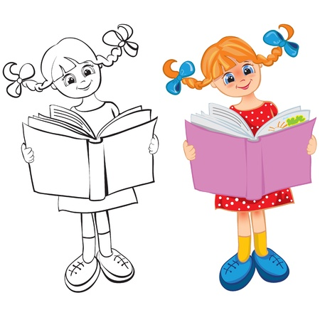 teenagers only: The girl reads the book. Contour and color