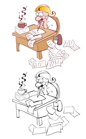 Writer at the table. Contour and color Vector