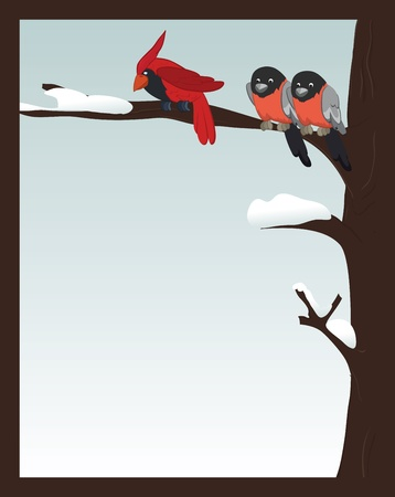 Birds in winter forest.Card. Photo frame Vector
