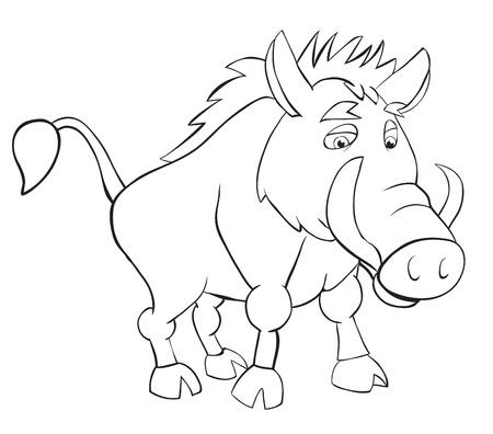 wild boar: Fan wild boar. Outline drawing