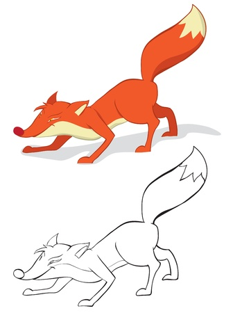 foxy: Fun red fox. Color and outline Illustration
