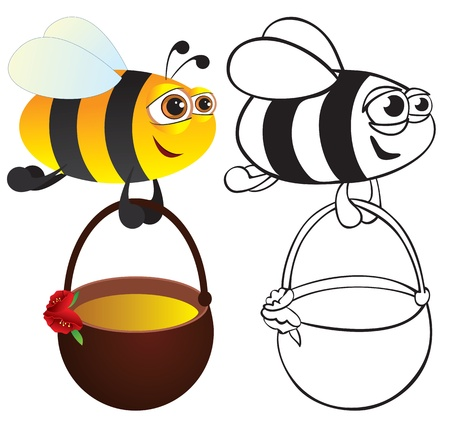 Bee with honey. Color and contour Stock Vector - 8676026