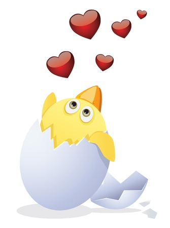 Chicken and Valentines Day. Vector