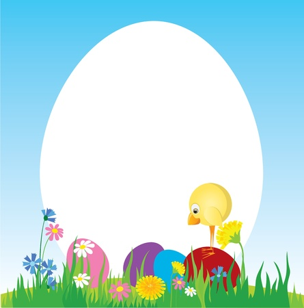 egg plant: Easter eggs and  chicken on the lawn