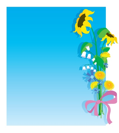 Flower bouquet card. Space for copy / text Stock Vector - 8825150