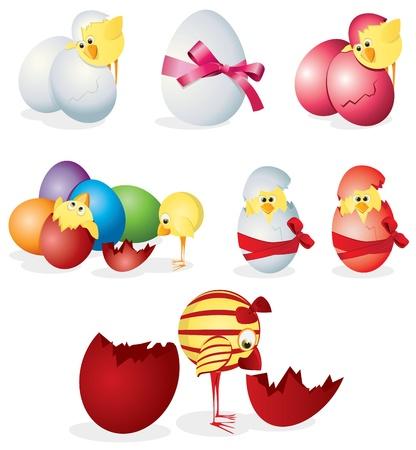 pollitos: Conjunto de huevos de Pascua y polluelos. Clip art