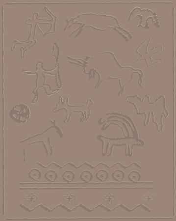 antiquity: rock paintings Illustration