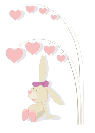 Rabbit and hearts tree. Valentines day Vector
