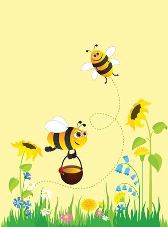 abeja caricatura: Prado de floraci�n y las abejas recogiendo miel
