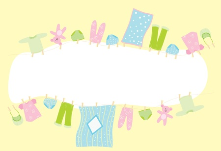 hanging girl: Baby banner. Childrens underwear drying on the rope Illustration