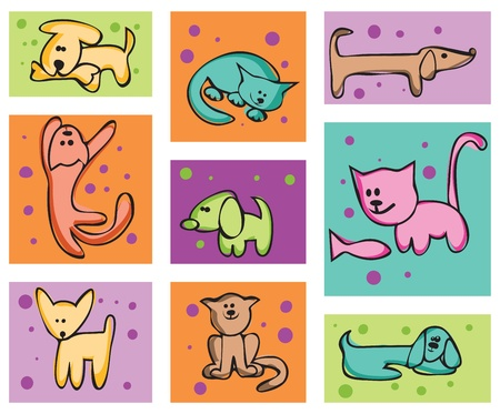 Childrens stylized drawing. Cats and dogs. A set of cards Vector