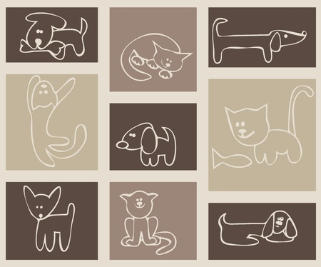 cat dog: Childrens stylized drawing. Cats and dogs. A set of cards