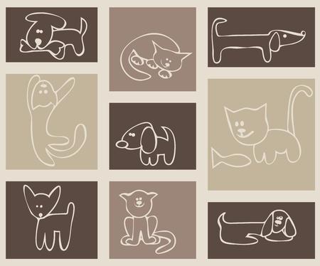 silueta de gato: La infancia habían estilizado dibujo. Gatos y perros. Un conjunto de tarjetas