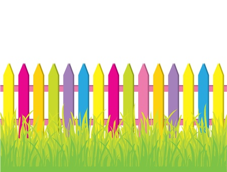 Green grass and colored fence Stock Vector - 8825228