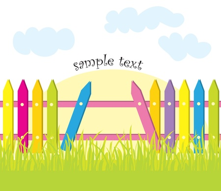 Green grass and colored fence Stock Vector - 8825229
