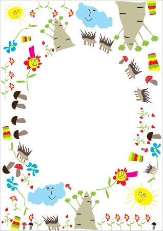 Photo frame, stylized by children's drawing Stock Vector - 8825238