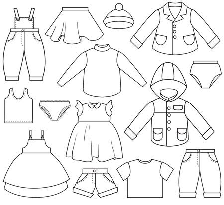 kurz: Eine Reihe von verschiedenen Arten von Kleidung  Illustration
